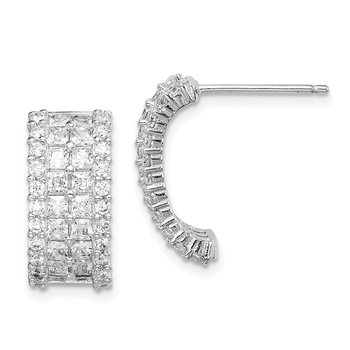 Sterling Silver Rhodium-plated CZ 4-row Half Hoop Post Earrings