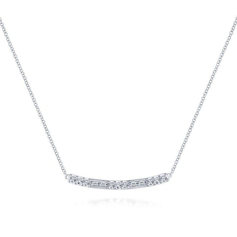 Gabriel  14K White Gold Round and Baguette Diamond Curved Bar Necklace