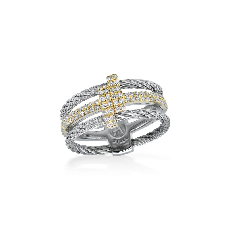 ALOR Grey Dual Cable Opulence Ring with 18kt Yellow Gold & Diamonds