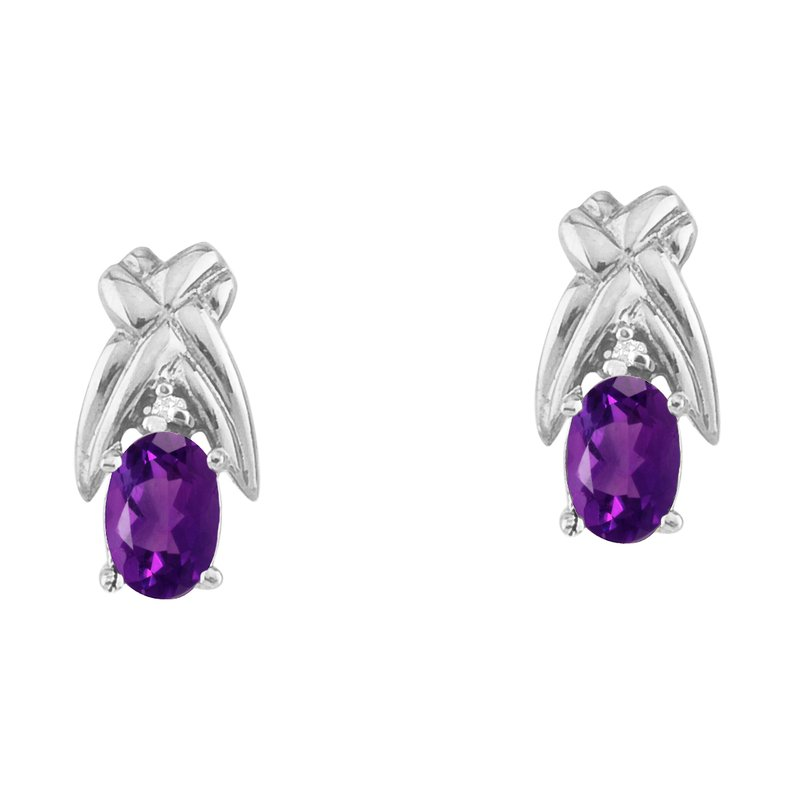 14k White Gold 6x4 mm Amethyst and Diamond Oval Shaped Earrings