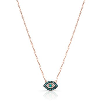 Rose Gold Piety Treated Blue Diamond Mini Evil Eye Necklace