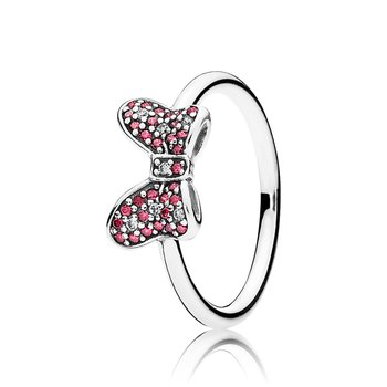 Disney, Minnie's Sparkling Bow Ring, Red Clear Cz