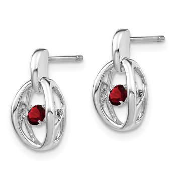 Sterling Silver Rhodium Garnet Birthstone Vibrant Earrings