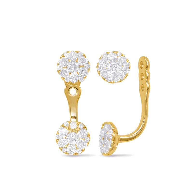 S. Kashi  & Sons Yellow Gold Diamond Ear Jackets