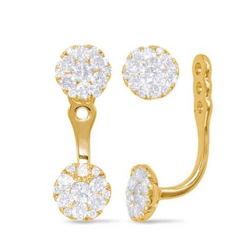 Yellow Gold Diamond Ear Jackets