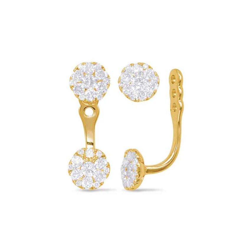 Yellow Gold Diamond Ear Jackets