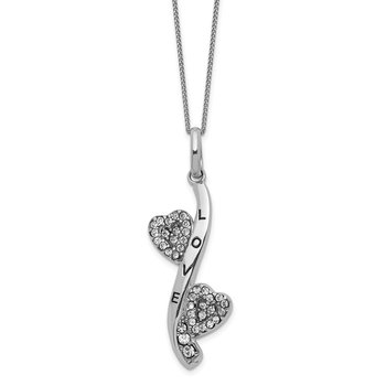 Sterling Silver Enamel & Crystal Love Hearts Necklace