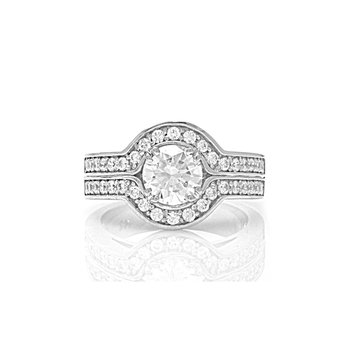 Milgrain Design Round Double Shank Engagement Ring