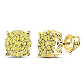 10kt Yellow Gold Womens Round Canary Diamond Concentric Cluster Stud Earrings 3/4 Cttw