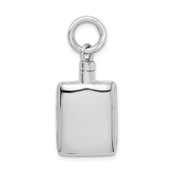 Sterling Silver Rhodium-plated Polished Rectangular Ash Holder Pendant