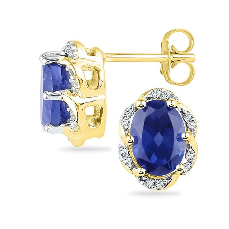 Kingdom Treasures 10kt Yellow Gold Womens Oval Lab-Created Blue Sapphire Solitaire Diamond Earrings 2-1/2 Cttw