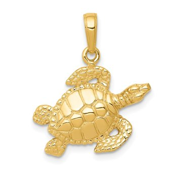 14k Sea Turtle Pendant
