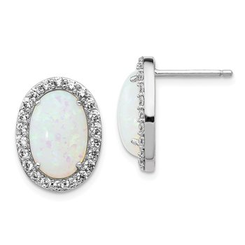 Cheryl M Sterling Silver RH-plated CZ & Created Opal Oval Post Earrings