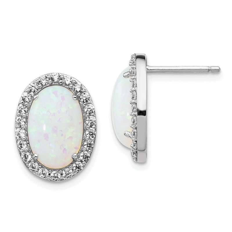 Cheryl M Cheryl M Sterling Silver CZ & Lab created Opal Post Earrings