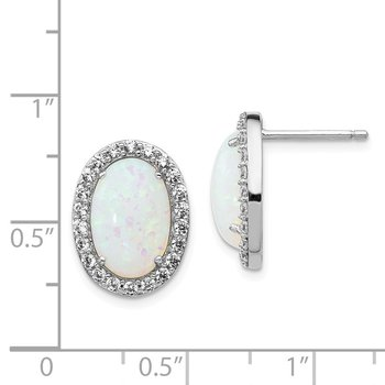 Cheryl M Sterling Silver CZ & Lab created Opal Post Earrings