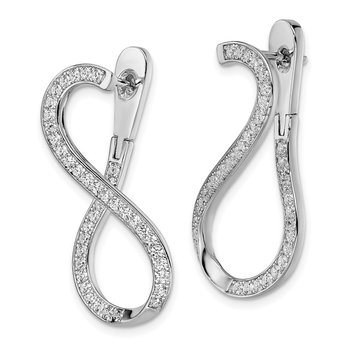 Sterling Silver Rhodium-plated CZ In & Out Post Dangle Earrings