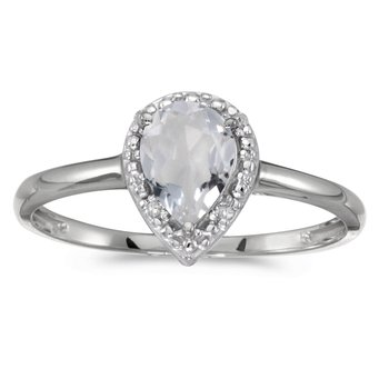 14k White Gold Pear White Topaz And Diamond Ring