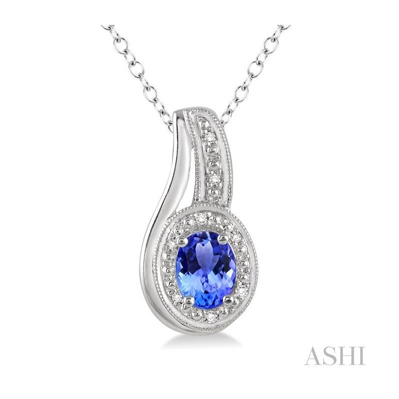 Crocker's Collection oval shape silver gemstone & diamond pendant