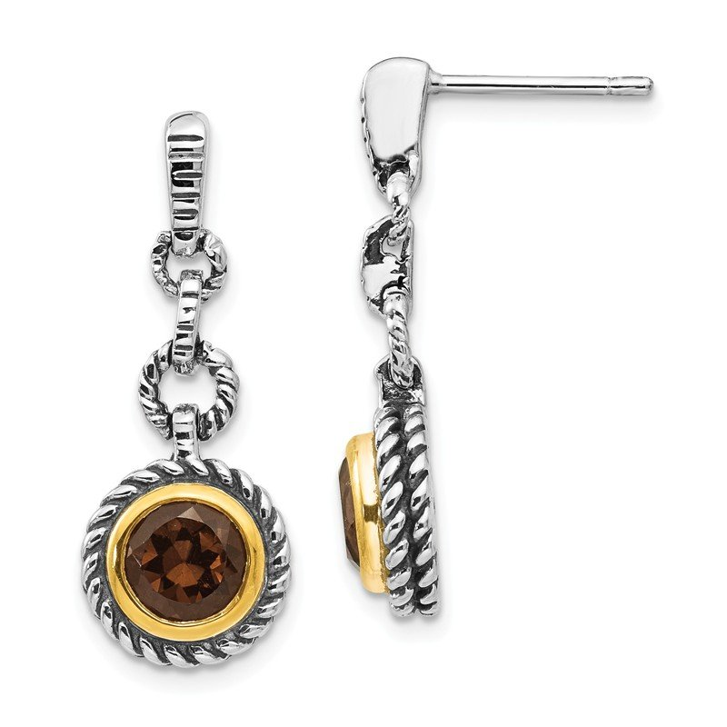 Shey Couture Sterling Silver w/Gold-tone Flash Gold-plated Smoky Quartz Earrings