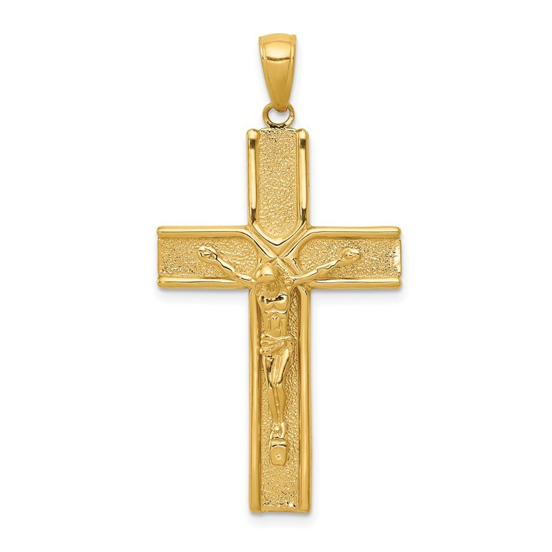 Quality Gold 14k Satin Finish Crucifix Pendant