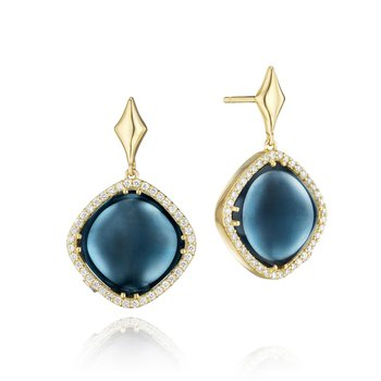 Pavé Cushion Cut Drop Earrings featuring Sky Blue Topaz over Hematite