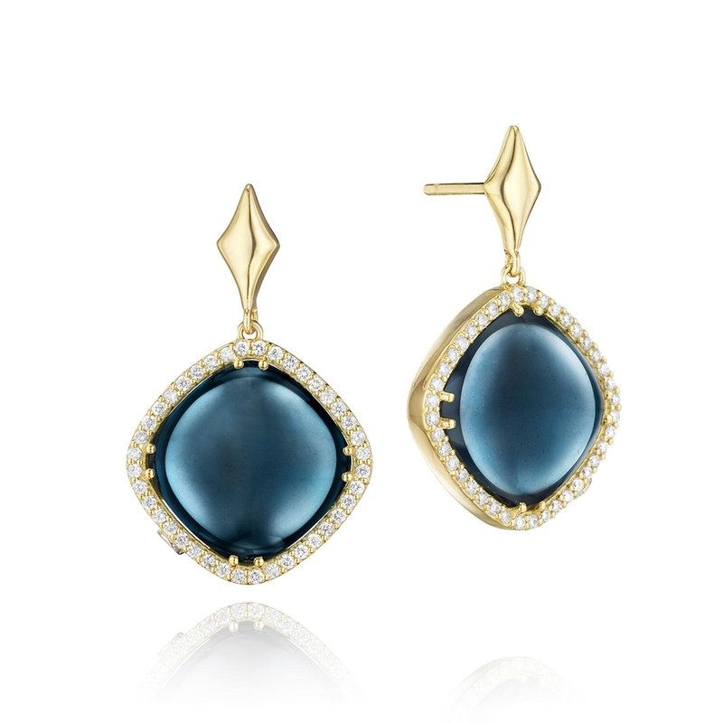 Tacori Fashion Pavé Cushion Cut Drop Earrings featuring Sky Blue Topaz over Hematite