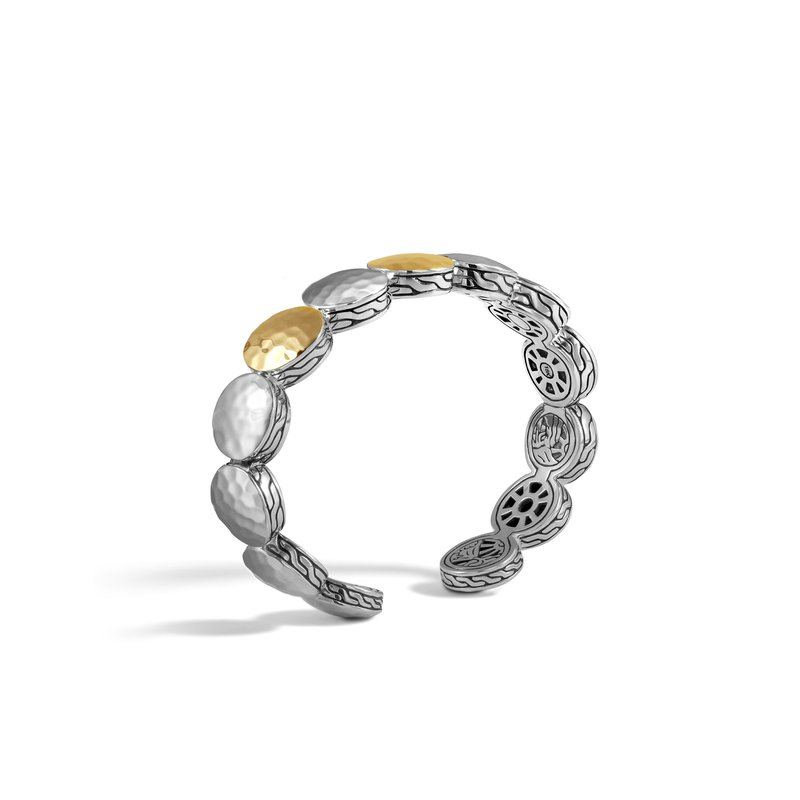 JOHN HARDY Dot 13MM Flex Cuff in Hammered Silver and 18K Gold