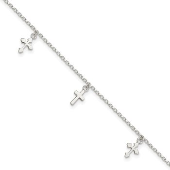 Sterling Silver Polished Cross Dangle 9in Plus 1in Ext Anklet