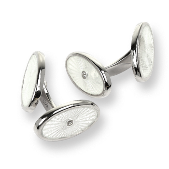 Sterling Silver Oval Elbow Cufflinks-White.  Diamonds.