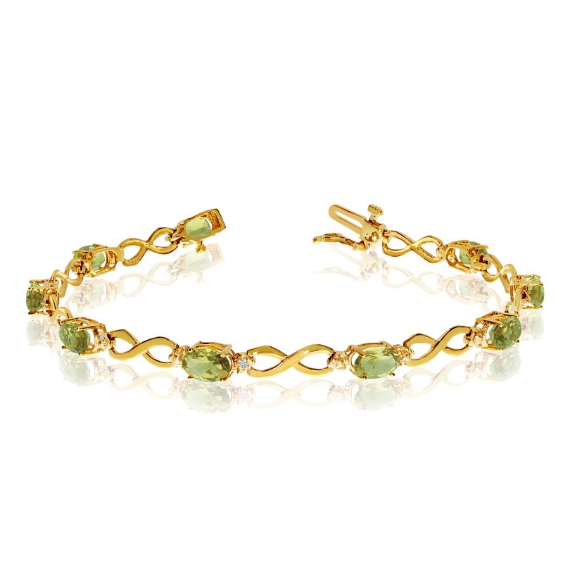 Color Merchants 10K Yellow Gold Oval Peridot and Diamond Bracelet