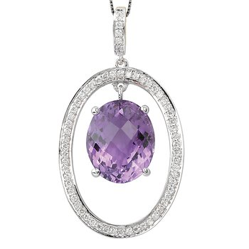 Sterling Amethyst Diamond Pendant