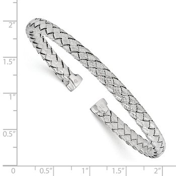 Leslie's Sterling Silver Polished Woven Cuff Bangle