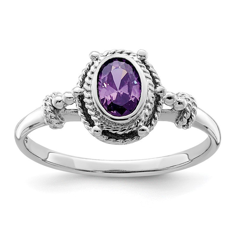 Quality Gold Sterling Silver Rhodium-plated with Purple Oval CZ Stone Ring