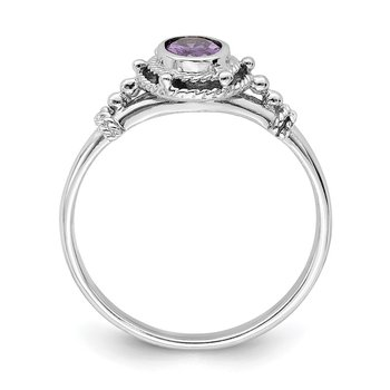Sterling Silver Rhodium-plated with Purple Oval CZ Stone Ring
