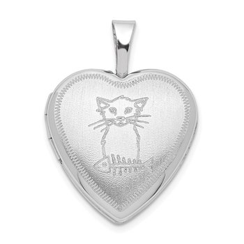 Sterling Silver Rhodium-plated Cat with Fish Heart Locket