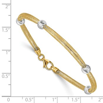 14K Two-tone D/C Beads Stretch Mesh Bracelet
