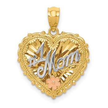 14k Tri-color Polished #1 MOM Shadowbox Pendant