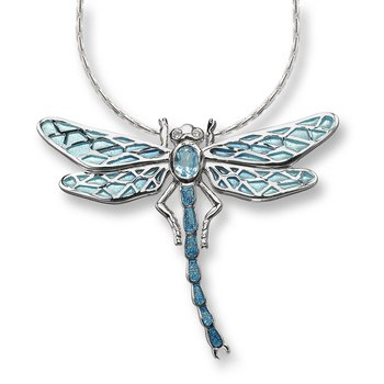 Blue Dragonfly Necklace.Sterling Silver-White Sapphire and Blue Topaz - Plique-a-Jour