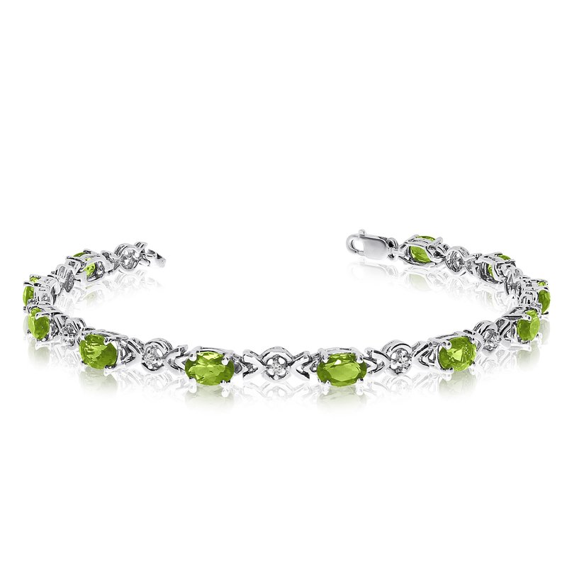 Color Merchants 10K White Gold Oval Peridot and Diamond Bracelet