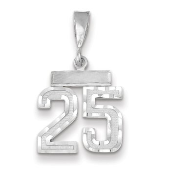 14k White Gold Small Diamond-cut Number 25 Charm
