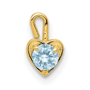 14ky March Synthetic Birthstone Heart Charm