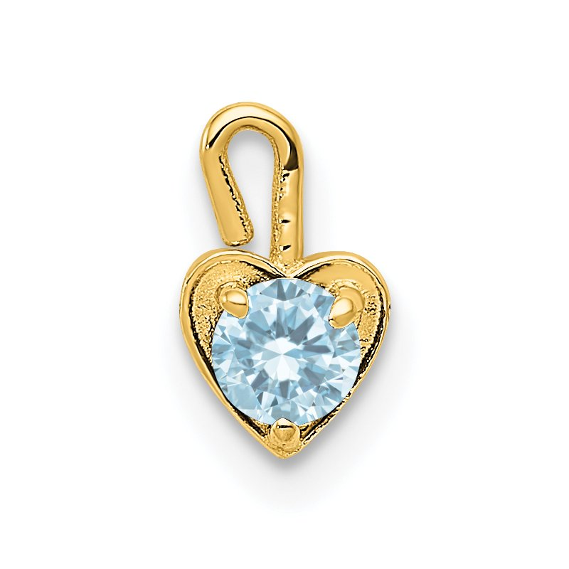 Quality Gold 14ky March Synthetic Birthstone Heart Charm