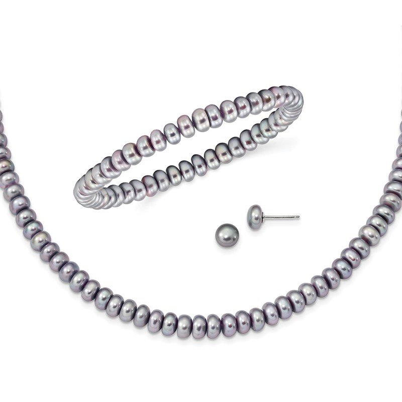Lester Martin Online Collection Sterling Silver Grey 6-7mm FW Cultured Pearl Set
