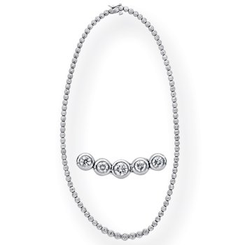 Tube Set Diamond Necklace
