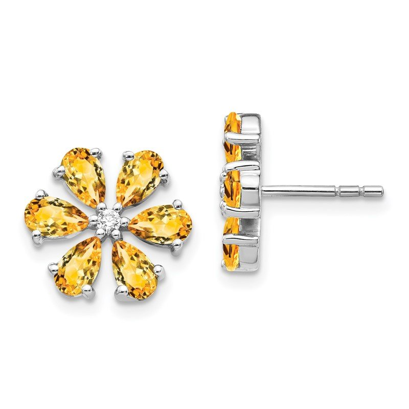 Quality Gold 14k White Gold Diamond Citrine Flower Earrings