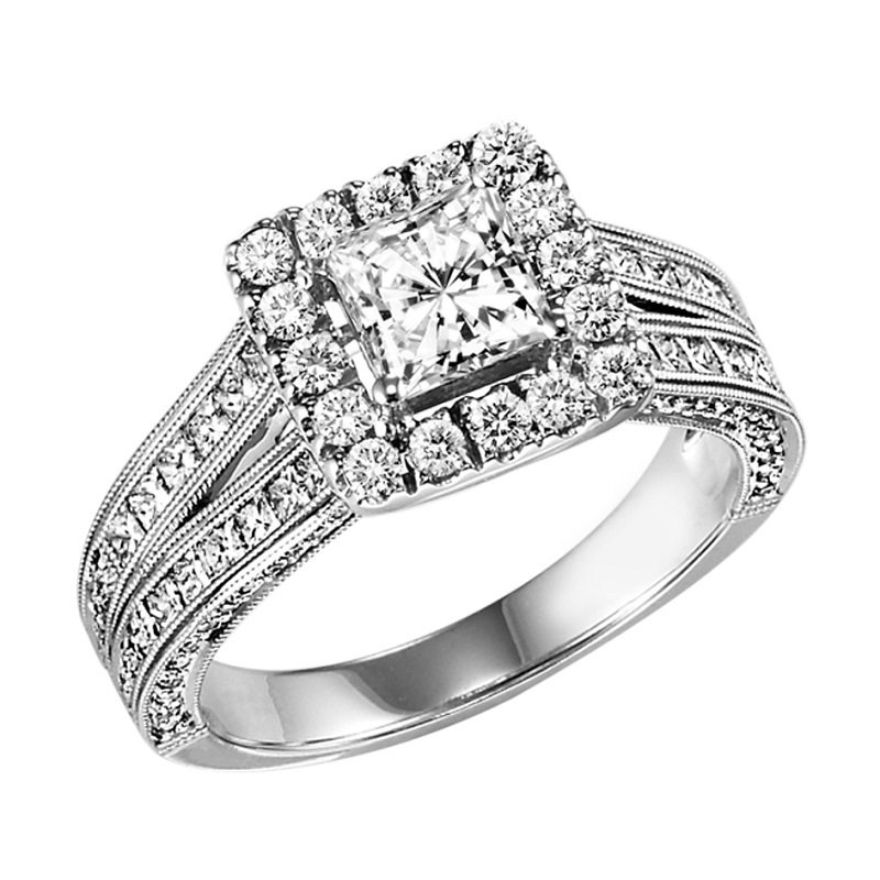 Bridal Bells 14K Diamond Engagement Ring 1 ctw with 3/4 ct Center