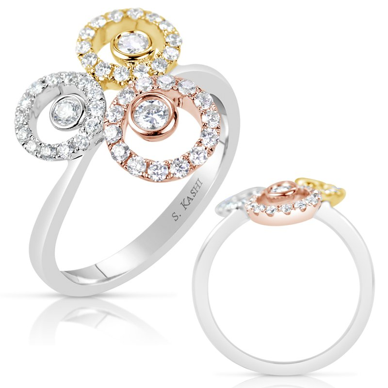 S. Kashi  & Sons Rose & Yellow & White Fashion Ring