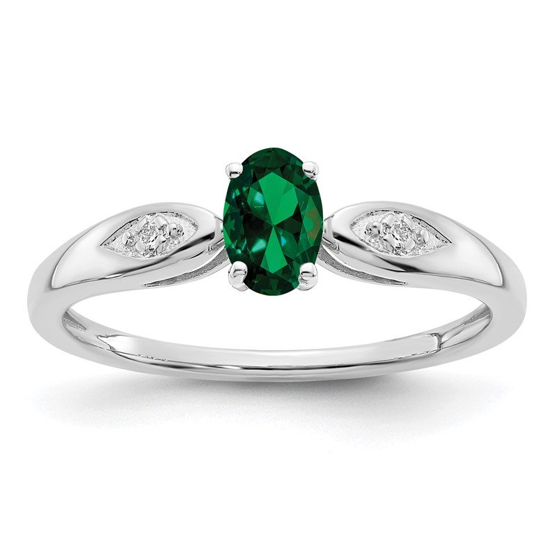 Quality Gold 14k White Gold Emerald and Diamond Ring