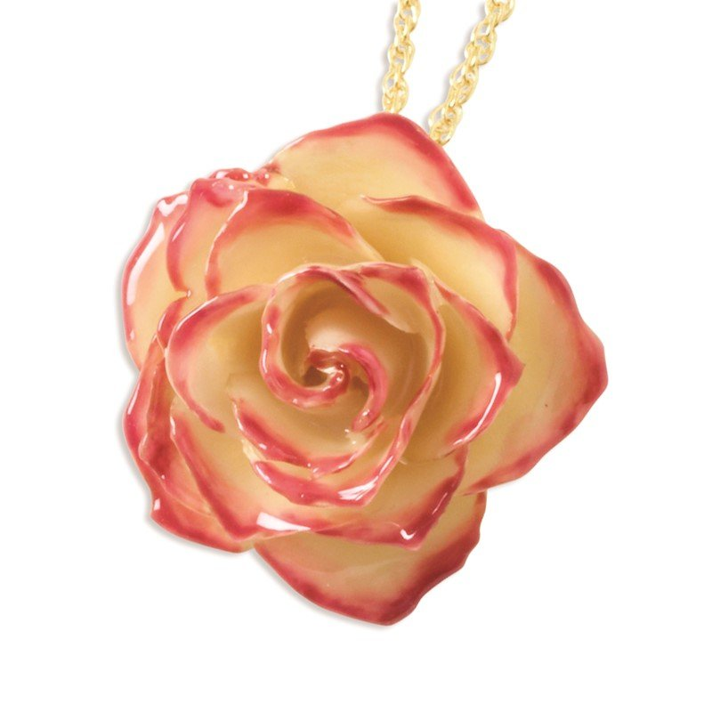 Quality Gold Lacquer Dipped Cream and Fuchsia Rose with 20 inch Gold-tone Necklace