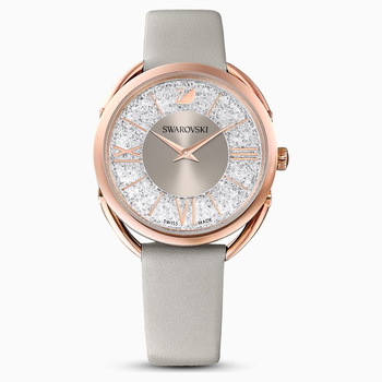 Crystalline Glam Watch, Leather Strap, Gray, Rose-gold tone PVD